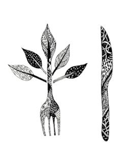 Doodled Fork and Knife